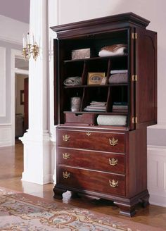 Get it all organized - beautifully - with the Carriage House Armoire from Kincaid. Plus it is SOLID wood.