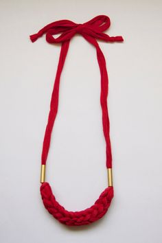 ce38f085c red vintage woven fabric necklace with brass tubes, adjustable length, ONE  AVAILABLE, via
