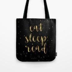 Eat, Sleep, Read (Stars) - Gold Tote Bag