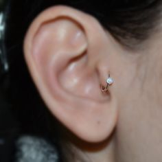White Opal Tragus Ring, 2mm Silver Nose Hoop Earring, helix/cartilage piercing/jewelry 18g, nose stud 18 gauge