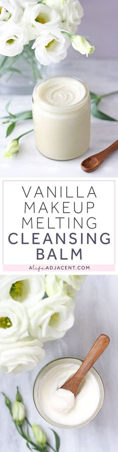 Learn to make vanilla-scented Cleansing Balm with this easy, natural DIY. Quickly emulsify and remove makeup, sunscreen and oil. Recipe uses saturated fats that are heat stable and low in PUFAs: coconut oil and shea butter. | Natural skincare, DIY skincare, low PUFA skincare, Dr. Ray Peat, makeup melting balm, DIY makeup remover, double cleansing, double cleanse, cleanser, saturated fat. #CleansingBalm #DIYSkincare