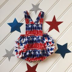 Red White Blue Ruffle Rompers for the 4th of July!