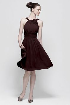Gorgeous Shirred Chocolate Chiffon Knee Length A Line Bridesmaid Dresses With Flower Under 100 - Discount Bridesmaid Dresses - Wedding Party Dresses - Dresses FOR Wedding Cute Wedding Dress, 2015 Wedding Dresses, Colored Wedding Dresses, Dresses 2014, Prom Dresses, Dresses Online, Evening Dresses, Halter Dresses, Sun Dresses