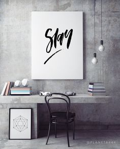 Slay Handlettered Inspirational Motivational Inspo Fitspo Minimal Monochrome Black White Quote Poster Prints Printable Wall Home Decor Art