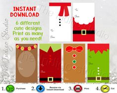 Christmas Printable Gift Tags Santa Suit - Snowman - Reindeer - Gingerbread Man - Elf - Holiday Gift Tags party favor tags by TheIndigoStudio