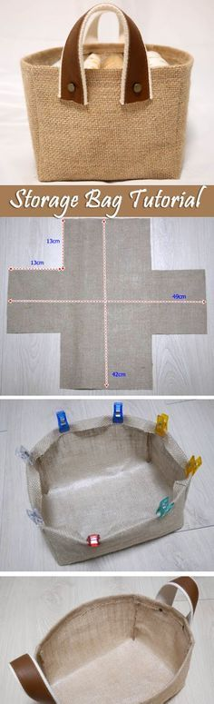 Storage Fabric Burlap Box Pattern and Tutorial. Bag Step by step photo tutorial. http://www.handmadiya.com/2016/05/storage-fabric-box-tutorial.html                                                                                                                                                     More