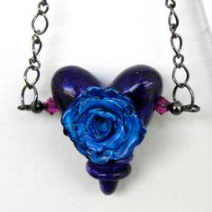 Sweet Romance Rose Heart Necklace  Teal Rose on a by LavaGifts, $26.00