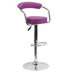 Contemporary Adjustable Height Barstool with Arms and Chrome Base - Purple Vinyl