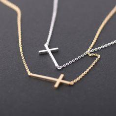 Sideways cross necklace, silver