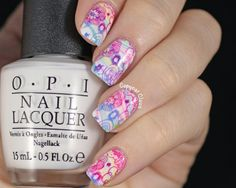 Springtime Water Marble Nail Art: flower image MoYou London Pro -10XL