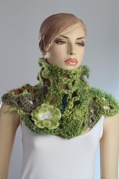 Crochet Chunky Scarf - Capelet with Flower Pin.  Material: wool, acrylic, hand spun wool.  Color: Shades of green    Measures:  approx. length 96cm