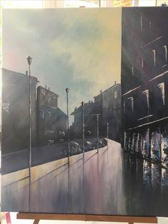 Crépuscule en ville, acrylique 50x70 réalisé par BRIG