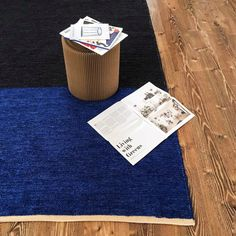 Blue and Charcoal Colour Block Handwoven Rug - Flatweave / Kilim / Carpet / Handwoven Carpet / Handwoven Rug