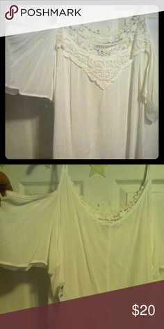 Cold shoulder top! White/ivory cold cold shoulder too with crochet neck line <3 Charlotte Russe Tops Blouses