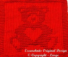 This Knitting Cloth Pattern - SWEETHEART BEAR - PDF is just one of the custom, handmade pieces you'll find in our patterns & blueprints shops. Knitted Washcloth Patterns, Knitted Washcloths, Dishcloth Knitting Patterns, Crochet Dishcloths, Knit Or Crochet, Knitted Blankets, Knitting Stitches, Knitting Needles, Crochet Patterns