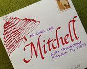 Items similar to Hand Lettered Envelope with Return Address on back flap on Etsy