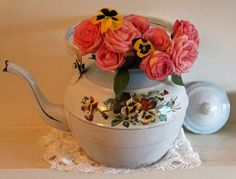 Vintage French Large Enamel Teapot, White With Pansies