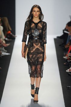 BCBG Max Azria Spring 2013  Love the contrast of the leather harness against the soft lace.