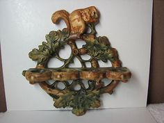 OLD-WELLER-POTTERY-SQUIRREL-LEAF-SPOON-RACK-HOLDER-IN-WOODCRAFT-PATTERN