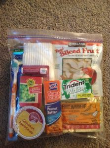 Gift bags for the homeless. This is a perfect opportunity for a group to learn about hunger and homelessness.