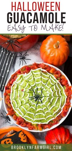 Easy to make Halloween Guacamole Dip with sour cream spiderwebs on top.  This homemade recipe uses fresh avocados and diced tomatoes for a healthy party dip!