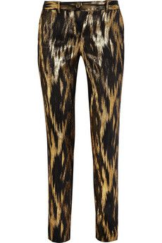 Michael Kors Samantha metallic ikat-jacquard pants | THE OUTNET