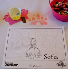 Coloring Activity at a Sofia the First Party #sofia #partygames
