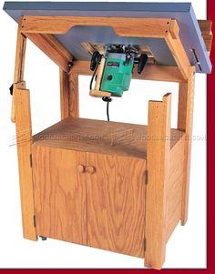 Tilt Top Router Table Plans - Router Tips, Jigs and Fixtures - Woodwork, Woodworking, Woodworking Plans, Woodworking Projects Woodworking Router Table, Router Table Plans, Woodworking Power Tools, Router Woodworking, Woodworking Projects, Best Router, Router Jig, Cheap Modern Furniture, Woodworking Inspiration