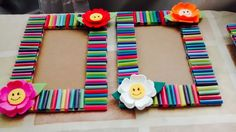 Art N Craft, Craft Stick Crafts, Fun Crafts, Crafts For Kids, Paper Crafts, Craft Activities For Kids, Preschool Crafts, Photo Frame Crafts, Straw Crafts