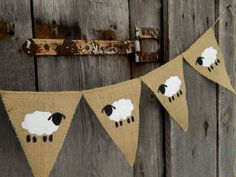 Sheep Banner Lamb Banner Easter Banner Lamb Bunting Nursery Banner Baby Shower B. Shaun The Sheep, Sheep And Lamb, Eid Crafts, Easter Crafts, Easter Decor, Christening Banner, Hessian Bunting, Timmy Time, Tea Party