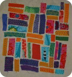 meditative kantha stitching of small scraps onto a base -- hoolatallulah