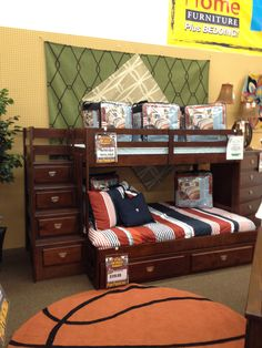 Dark finish loft bunkbed with a full size bed on bottom and a twin size on top! Stairs have drawers for extra storage!