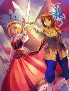 Poland and Lithuania. Nyotalia version of Poland is kind of funny - the difference between her and the official (male) version is that she has those little boobs, and that's about it. Poland is a female version of himself, basically. Otp, Lithuania Hetalia, Hetalia Characters, Fictional Characters, Hetalia Axis Powers, Beautiful World, Hong Kong, Poster, Fangirl