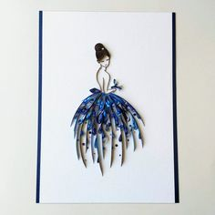 Ball gown dress girls room decor, Quilled purple dress, Fashion line wall art, handmade quilling Paper Quilling Patterns, Quilling Paper Craft, Paper Crafts Origami, Moda 3d, Framed Initials, Paper Quilling For Beginners, Greeting Card Shops, Paper Strips, Ball Gown Dresses