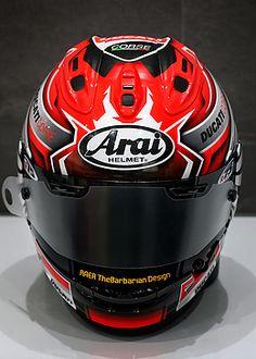 thebarbarian   arai mika giron Custom Motorcycle Helmets, Ducati, Honda, Hockey Helmet