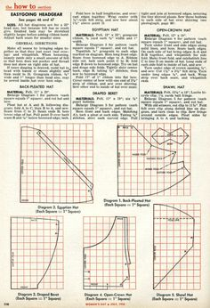 Simple one piece hats you can make, 1955 (image 3 of 3). #vintage #hats #1950s #crafts #sewing #howto #millinery