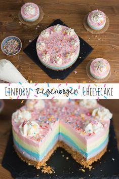 Einhorn Regenbogen Cheesecake Ein cremiger No Bake Cheesecake in den Farben des .Unicorn rainbow cheesecake A creamy no bake cheesecake in the colors of the rainbow with a crispy biscuit base, funny colorful sugar sprinkles and lots of color Homemade Cheesecake, Easy Cheesecake Recipes, No Bake Cheesecake, Cake Mix Recipes, Easy Cookie Recipes, Classic Cheesecake, Easy Vanilla Cake Recipe, Chocolate Cake Recipe Easy, Chocolate Cookie Recipes