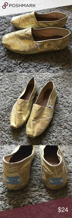 Gold Sparkly Toms In perfect used condition. Gently worn. Super fun and pretty! Toms Shoes Flats & Loafers