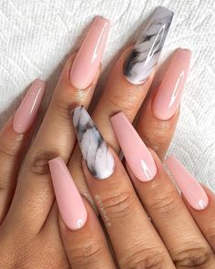 It's better to try marble nail designs. Simple black and white tones can make you look tasty and stand out from the many identical nails! Lime-and-white marble nail designs is like an ink lands Marble Nail Designs, Cute Acrylic Nail Designs, Ombre Nail Designs, Best Acrylic Nails, Stylish Nails, Trendy Nails, Cute Nails, Pink Nails, Gel Nails