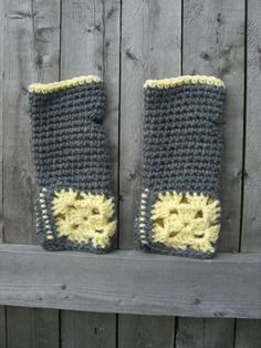 Grey and Yellow Crocheted granny Squares