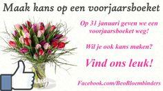 Wil je ook kans maken op een voorjaarsboeket?   1. Bezoek Facebook.com/BeoBloembinders en vind ons leuk!  2. Deel dit bericht op je tijdlijn.