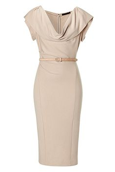 STYLEBOP.com | Camel Cap Sleeve Draped Dress with Belt by DONNA KARAN | the latest trends from the capitals of the world