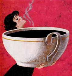 Woman Smelling Giant Cup of Coffee. Inspired by the entire history of modern design and pop culture spanning the 20th century to today. This artwork is 100% exclusive to AllPosters.com