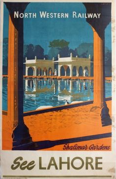 See Lahore North Western Railway Pakistan, 1930s - original vintage poster listed on AntikBar.co.uk