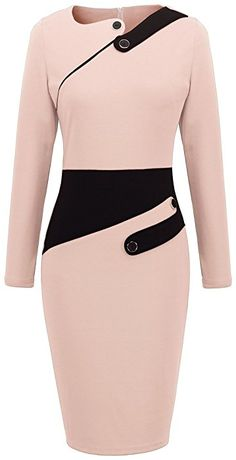 Homeyee Women's Voguish Colorblock Wear to Work Pencil Dress Light Pink): Size Information(just for reference): br brSize Shoulder Sleeve br brSize Shoulder Sleeve br brSize Shoulder Sleeve br br. Classy Work Outfits, Classy Dress, Stylish Outfits, Cute Dresses, Casual Dresses, Dress Outfits, Fashion Outfits, African Fashion Dresses, Pencil Dress