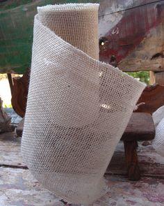 "Closeout 9"" Off White Burlap Ribbon 10 Yard Roll"