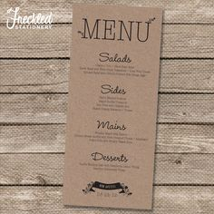 Wedding Menu - Printable PDF - Garden Whimsy. Looks great printed on Kraft paper. Freckled Stationery via Etsy.