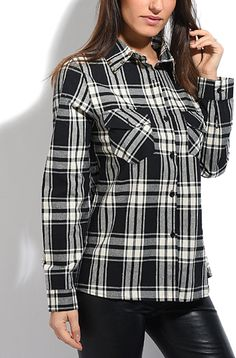 Black & White Plaid Button-Up