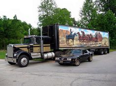 "1974 Kenworth & 1977 Pontiac Trans Am, The Two Co-Stars of ""Smokey and the Bandit,"" 1977 Big Rig Trucks, Cool Trucks, Cool Cars, Semi Trucks, Custom Big Rigs, Custom Trucks, Custom Cars, Pick Up, Smokey And The Bandit"