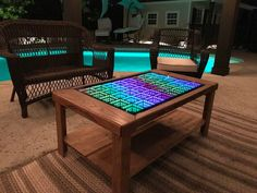 Beyond Infinity Table - the Interactive Coffee Table for the Modern Age by in leds Infinity Table, Infinity Mirror, Coffee Table Album, Cool Coffee Tables, Mirrored Coffee Tables, Led Furniture, Furniture Ideas, Led Diy, Buy Chair